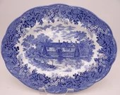 "Vintage Meakin ""Romantic England"" Blue and White Ightam Mote Oval Serving Platter - 2 Available"
