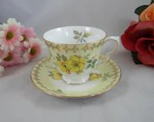 1960s Vintage Queen Anne English Bone China Teacup Footed English Teacup and Saucer set Yellow Pansies Yellow Tea Cup