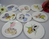 Hand Painted artist signed Porcelain Butterfly Coaster set  Set of 8 Coasters and Caddy