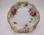 Vintage Hand Painted Nippon Beaded Moriage Purple Rose Plate