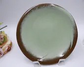 Vintage Frankoma Pottery Lazy Bones Green Bread and Butter Plate