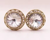 Vintage Rivoli Clear Faceted Rhinestone Clip Earrings are on a Gold Tone Setting a Lovely Set of Classic and Elegant Earrings