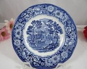 """Vintage Liberty Blue Historic Colonial Scenes """"Monticello"""" Blue and White Bread and Butter Plate - 18 Available"""