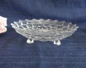 Fostoria American Clear Glass Bon Bon Dish - Vintage Fostoria Glass Footed Tray - Fostoria American Shallow Footed Bowl