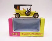 1960s Vintage Lesney Matchbox Y-5 Models of Yesteryear Yellow 1907 Peugeot Diecast Car in Original Box