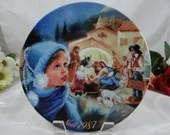 "1987 D'Arceau Limoges France Noel Christmas Plate "" La Creche Etoilee"""