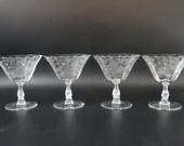"""Set of 4 Gorgeous Vintage Cambridge Roselyn Crystal Etched Champagne Goblet or Sherbet Glass 1950s Mid Century Modern 4.5"""" Low Sherbet"""