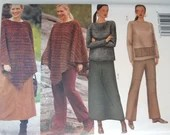 Vintage Butterick Kathy Ireland #6778  Sewing Pattern Sizes 28 30 32 - Womans Poncho, Long Sleeve Blouse, Long Skirt and Pant Pattern Pretty