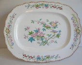 "1872-1882 Extra Large 21""  Antique Minton English Bone China ""Cuckoo"" Serving Platter"