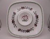 """Vintage 1970s Portmeirion Botanic Garden Very Large Square Chip n Dip Dish """"Cyclamen"""" Made in England"""