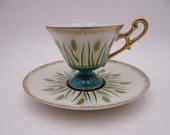 Vintage Wales Japan Atomic Wheat Pedestal Teacup and Saucer Tea Cup