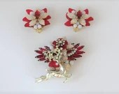 Stunning Stanley Hagler Demi Parure Jewelry Set Gorgeous Red Gold and White Reindeer Brooch and Earring Set