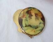 Vintage Victorian Miniature Portrait Sash Scarf Brooch Bag Brooch or Slide - Lovely
