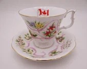 """Royal Albert Bone China """"Our Emblems Dear""""  Canada  English Teacup and Saucer - Delightful"""