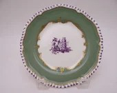 """Rare Vintage Royal Worcester English Bone China """"Pillament"""" Green Bread and Butter Plate - 6 available"""