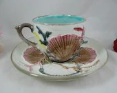 1882 Antique Vintage Wedgwood Argenta Majolica Ocean Seaweed and Shell English Teacup and Saucer Set Rare Tea Cup