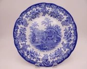"""Vintage Spode Blue Room Collection Blue and White Dinner Plate """"Tiger Cages"""""""