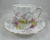 1930s Hand Painted Vintage English Crown Staffordshire Demitasse Cappuccino Teacup and Saucer Tea Cup