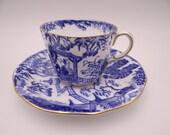 1930s Vintage Royal Crown Derby English Bone China Teacup Blue Mikado English Teacup and Saucer Set English Tea cup - 5 available