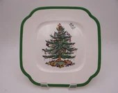 Spode Made in England Christmas Tree Square Salad Lunch Dessert Plate