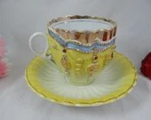 Vintage German Yellow and Gold Beaded Majolica Teacup and Saucer  Tea Cup