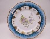 Stunning Vintage German Blue Floral Cake or Serving Plate