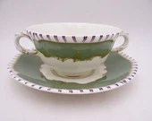 """Rare Vintage Royal Worcester English Bone China """"Pillament"""" Green Cream Soup or Bouillon Bowl and Saucer Set - 6 available"""
