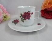 1950s Vintage Mid Century Bavarian PMR Bavaria Purple Rose Coffee Cup Cute German Tea Cup