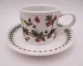 """Vintage Portmeirion Botanic Garden Flat Teacup and Saucer Set """"Pimpernel"""" Made in England Tea Cup"""