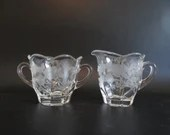 Vintage Duncan & Miller Charmaine Rose Creamer and Sugar with Butterfly and Rose Design and Scalloped Edge - a Hard to Find Pattern