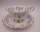 "Vintage Royal Albert English Bone China ""Rocaille"" English Teacup and Saucer set Elegant Tea Cup"