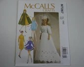 New Uncut FF McCall's 7267 Pattern - Fashion Doll Clothes Pattern - Wedding Dress Gown Evening Gown Cape - Mid Century Style Doll Clothes
