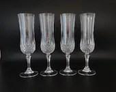 Set of 4 Vintage Cristal'd Arques Durand Longchamps Clear Crystal Champagne Flutes Glasses