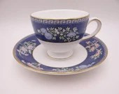 """Near Mint Vintage Wedgwood English Bone China """"Blue Siam"""" Teacup and Saucer Set 8 Available English Tea Cup"""