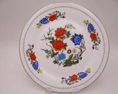 """Vintage Aynsley  English Bone China """"Famille Rose"""" Luncheon Plate"""