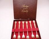 Gorgeous Prestige Regal 24KT Gold Plated Set of 6 Shrimp Cocktail Forks in Original Box