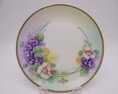1880s Vintage Hand Painted Bavarian ZSC Zeh Scherzer & Co Pink Poppy and Violets Plate - Stunning - Wall Decor