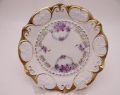 Spectacular 1900s Unger & Schilde Three Crown China Germany Violet Gold Encrusted Small Plate