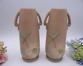 Vintage Pair of Weller Pottery Matte Pink Wild Rose Vases - Great Decor - Stylish