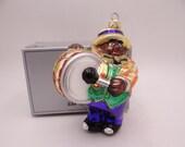 "Rare Vintage Kurt Adler Polonaise Christmas Hand Blown Glass Ornament ""Jazzman"" in Original Box - 4"