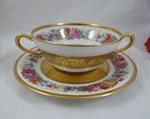 "1890s Limoges France T&V Tressemann and Vogt ""La Cloche"" Gold Encrusted Bouillon Cream Soup Bowl"