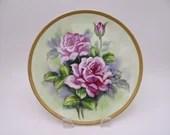 Vintage Hand Painted Purple Rose Floral Plate