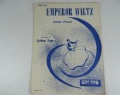 "Vintage 1940 Piano Sheet Music  ""Emperor Waltz"" Piano Solo  Johann Strauss"