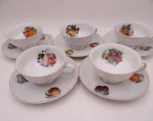 """Set of 5 1960s Jaeger Germany """"Harvest"""" Fruit Orchard Teacup and Saucer sets charming bright and colorful German Tea Cup"""