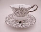Vintage Society English Bone China 25th Silver Wedding Anniversary Teacup and Saucer Set