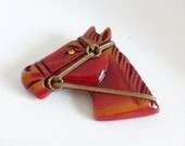 1940s Antique Carved Bakelite Horse Brooch Pin a Beautiful and Rare Collectible Piece
