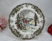 """Vintage Johnson Bros Staffordshire """"Friendly Village"""" Bread and Butter Plate - 6 available"""