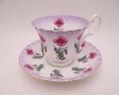Vintage Royal Albert English Bone China English Purple Floral Teacup and Saucer Set Delightful English Tea Cup 4469