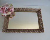 Large Mirrored Vanity Tray with Gold Tone Scalloped Filigree Reticulated Edge - Lovely