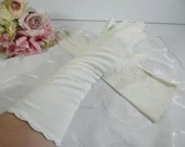 Ivory Gloves with Seed Pearl Flower Detail and Scalloped and Stitched Edges -Off White Gloves- Above the Wrist Glove - Bride Opera - ES-MW-6